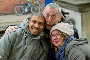 Ina with Michael Rosen for History Works Schools Project. Photo credit: HistoryWorks
